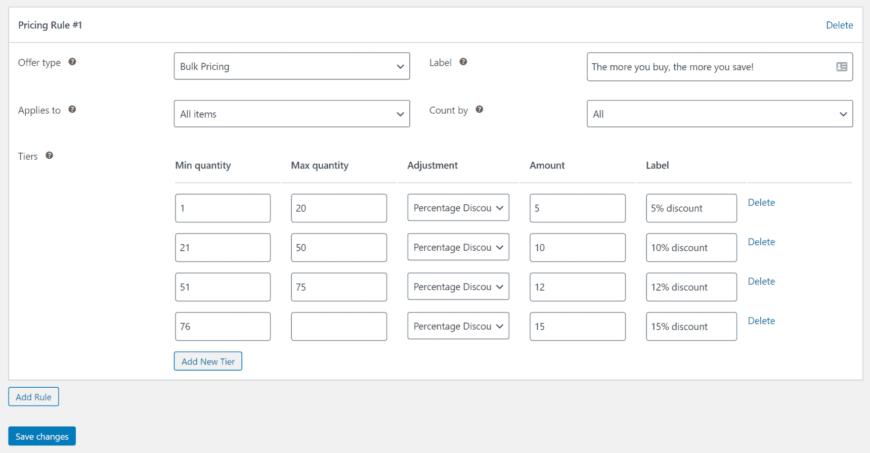 WooCommerce pricing tiers with percentage discounts