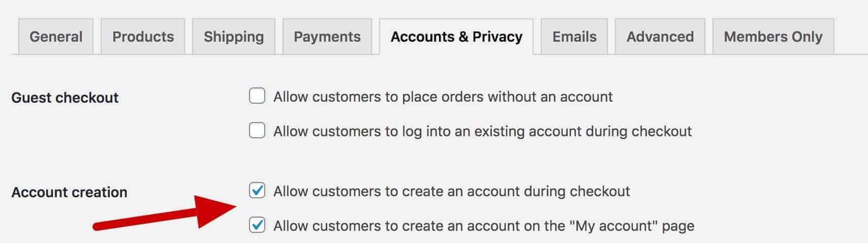 WooCommerce account creation