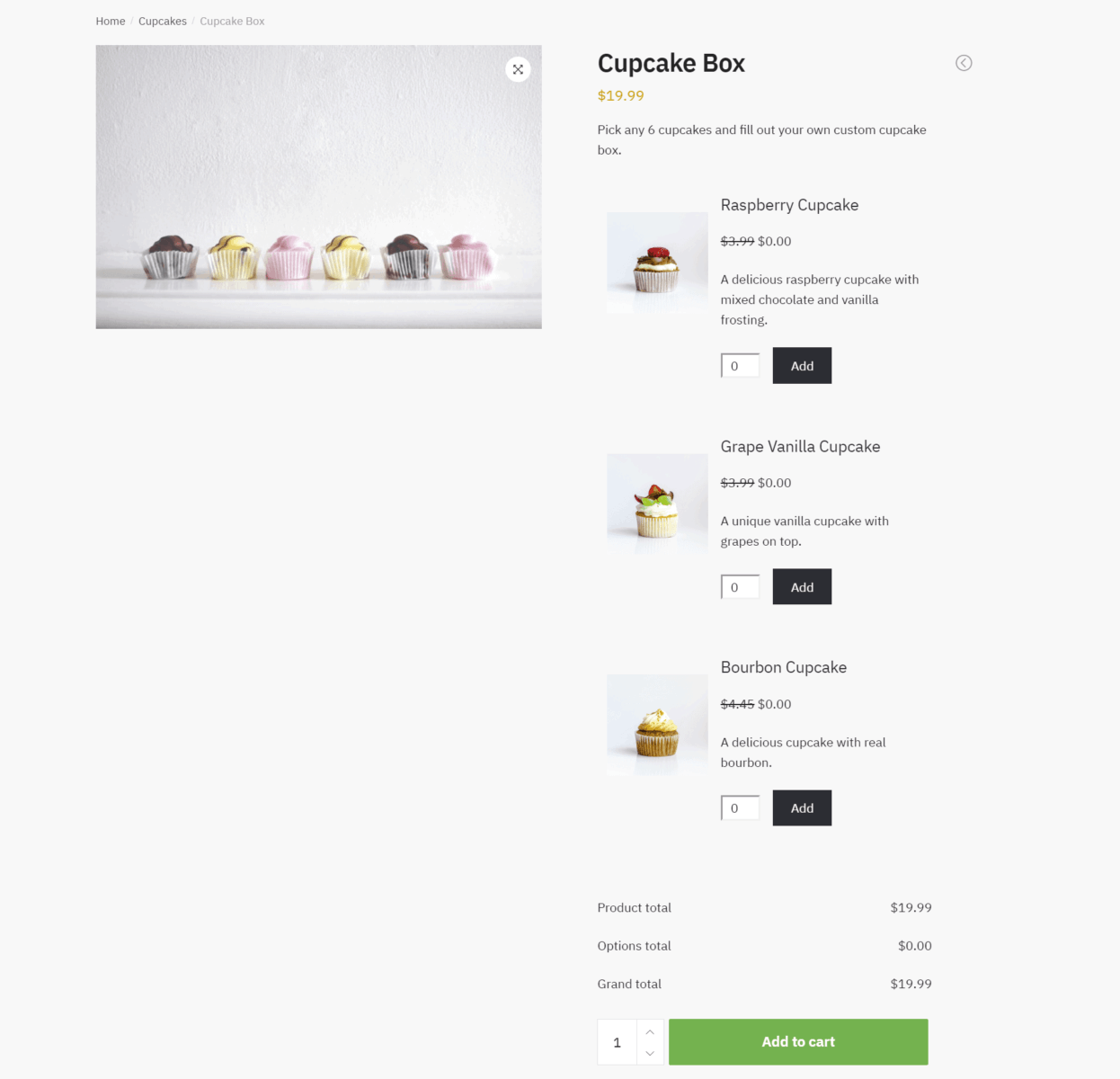 Example of WooCommerce product boxes with fixed price