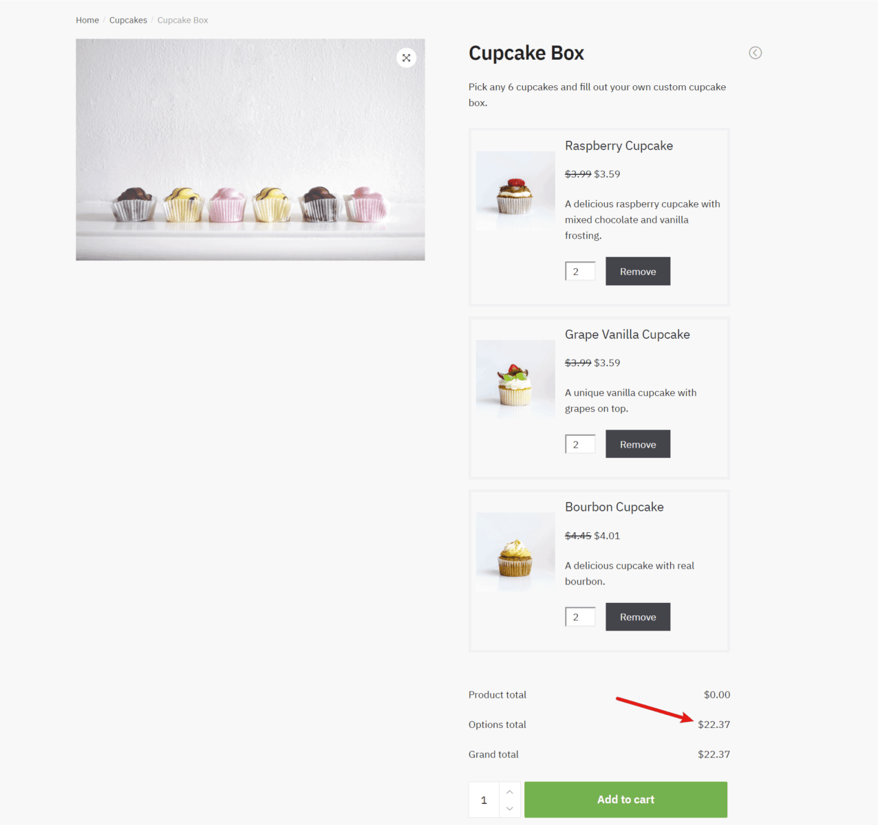 An example of WooCommerce product boxes with variable price