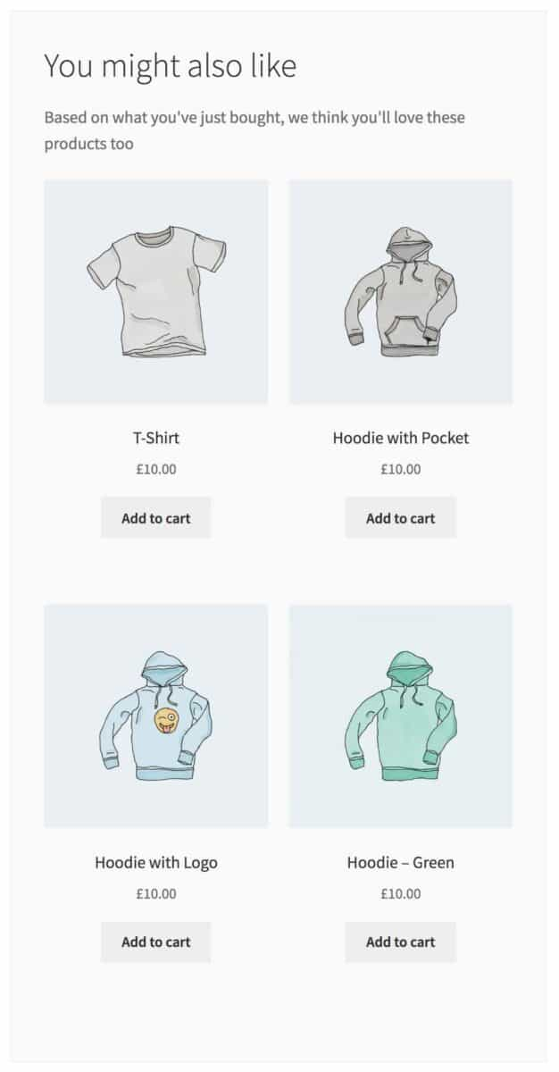 WooCommerce Thank You page recommended products