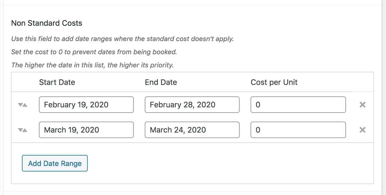 WooCommerce blocked booking dates