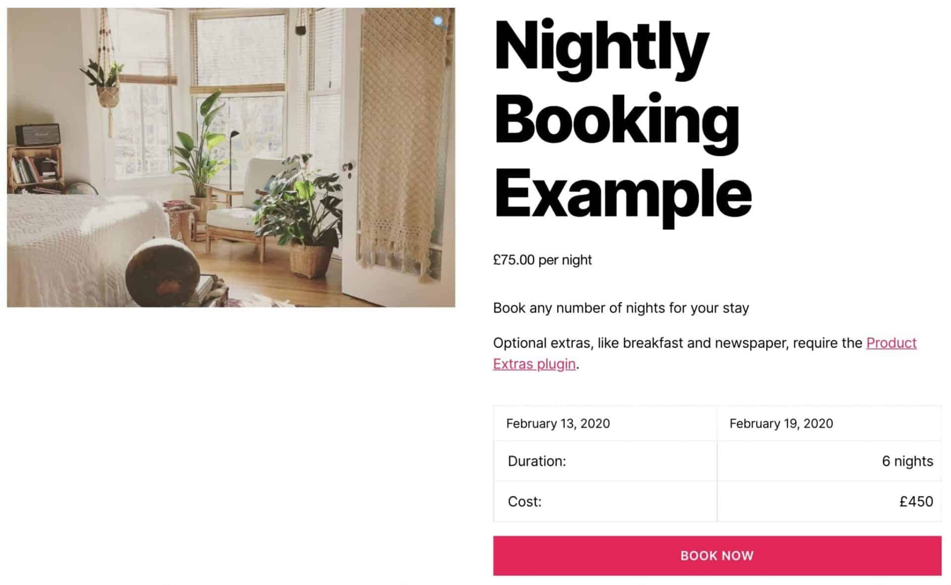 WooCommerce bookable product by night