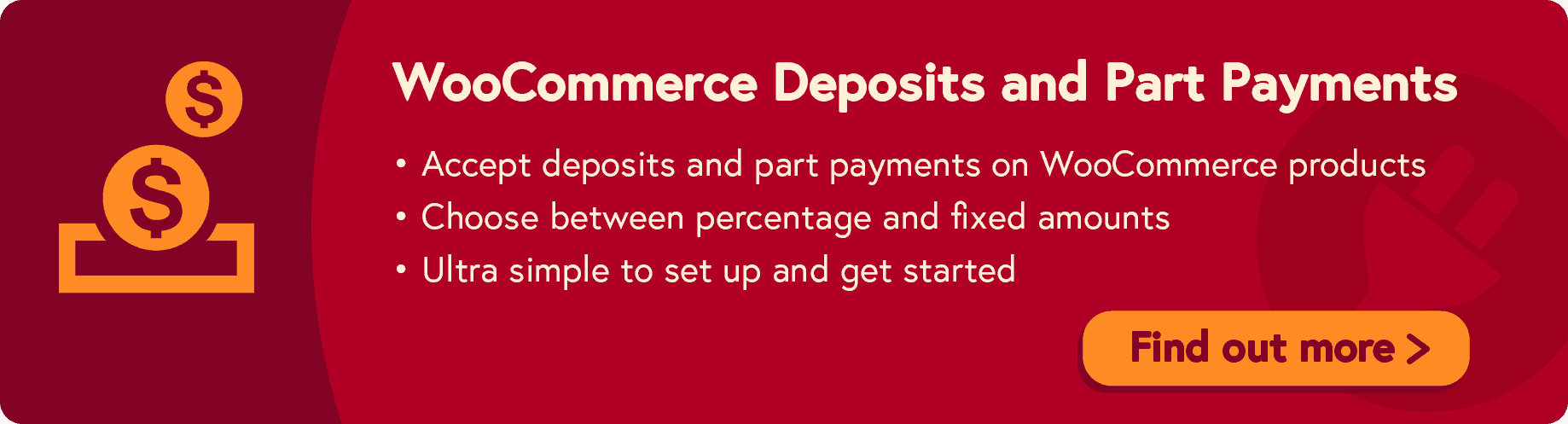 WooCommerce Deposits and Part Payments plugin call to action
