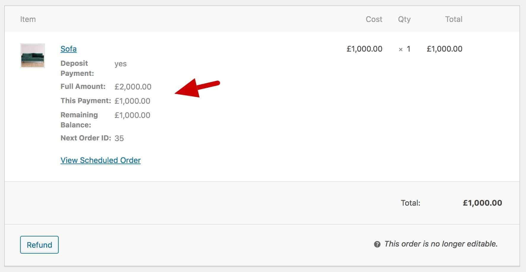 WooCommerce deposit order meta data