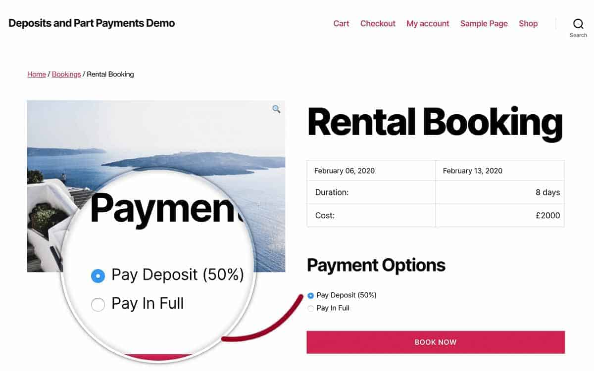 WooCommerce rental booking with deposit