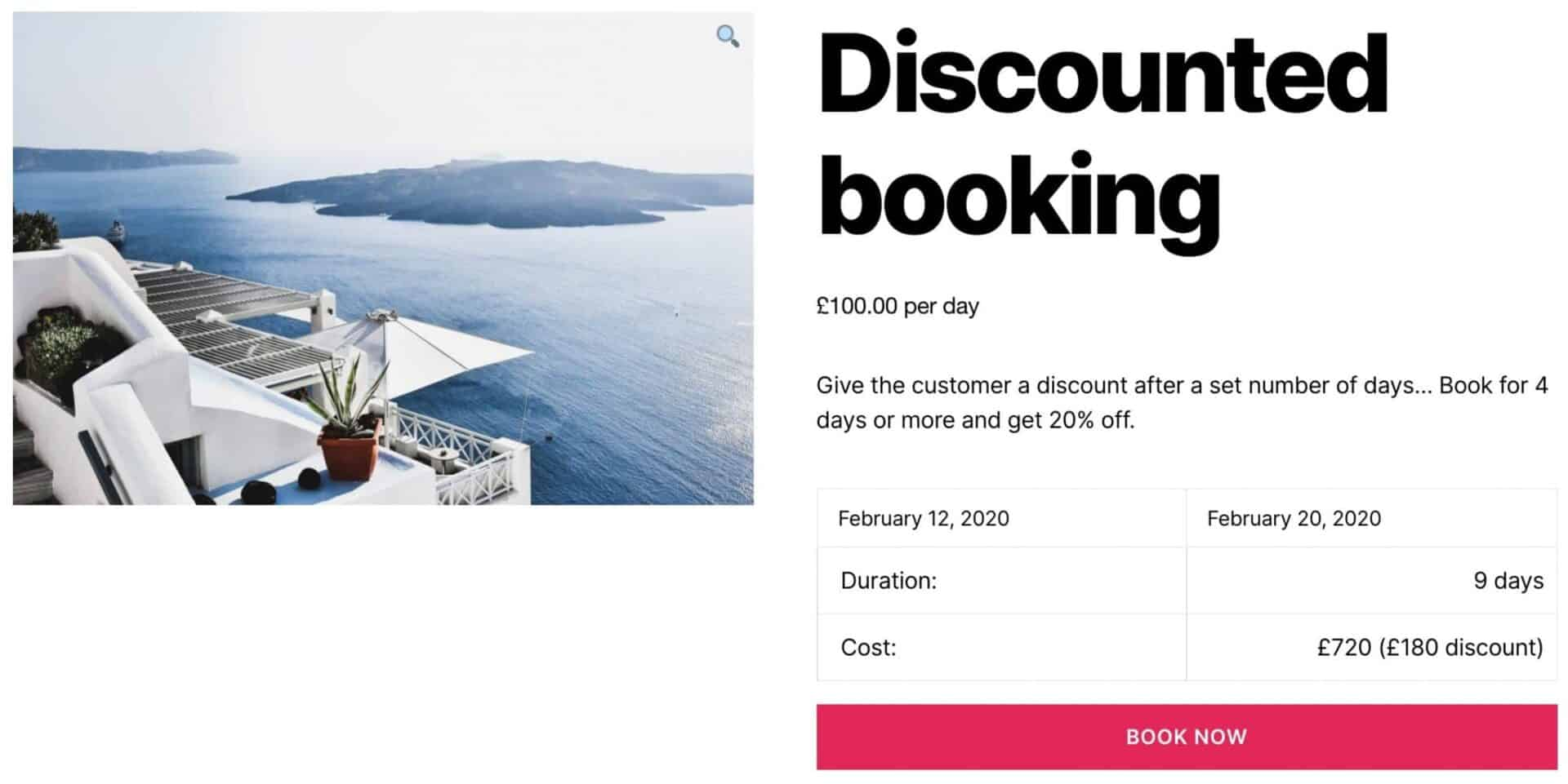 WooCommerce bookable product with discount