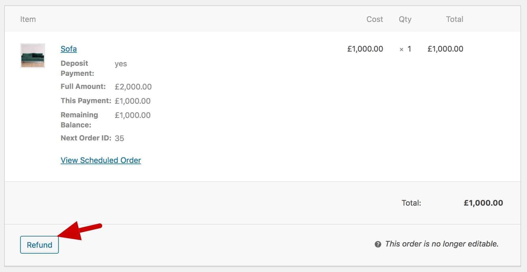 Refunding a deposit