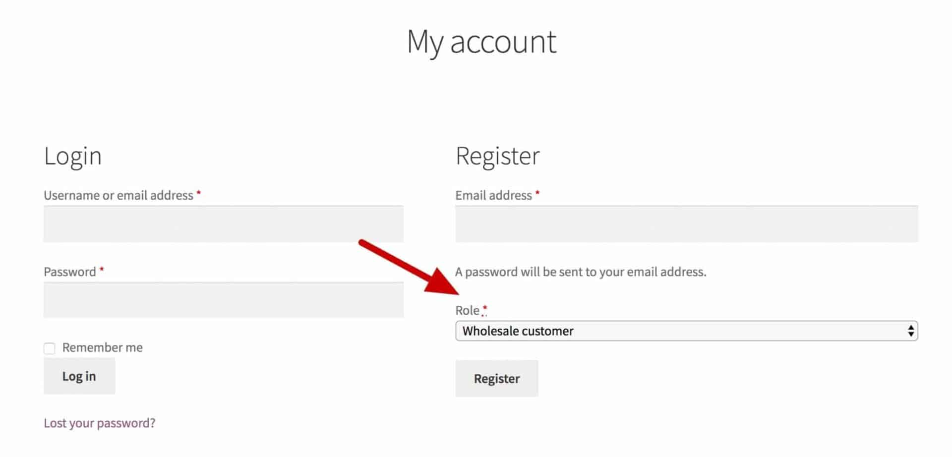 WooCommerce wholesale user registration form