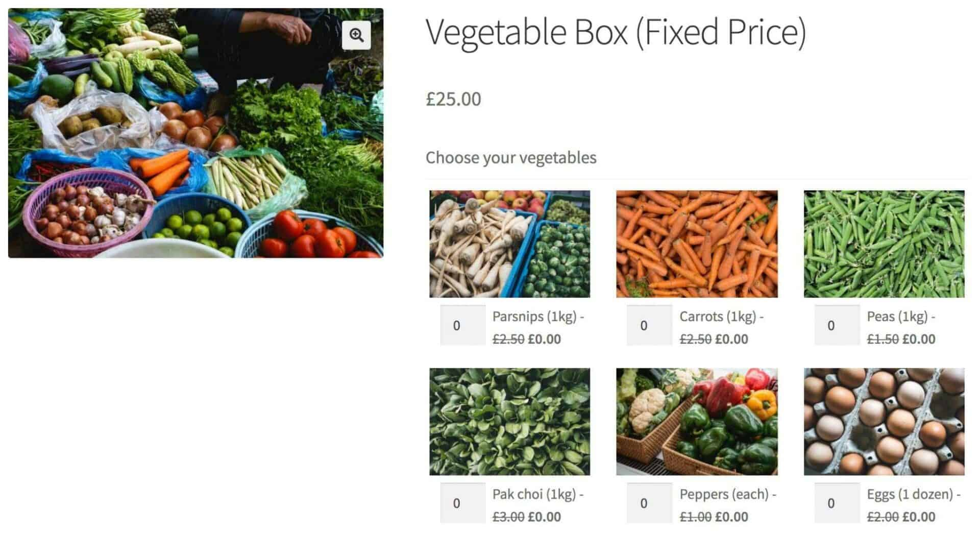 WooCommerce fixed price vegetable box