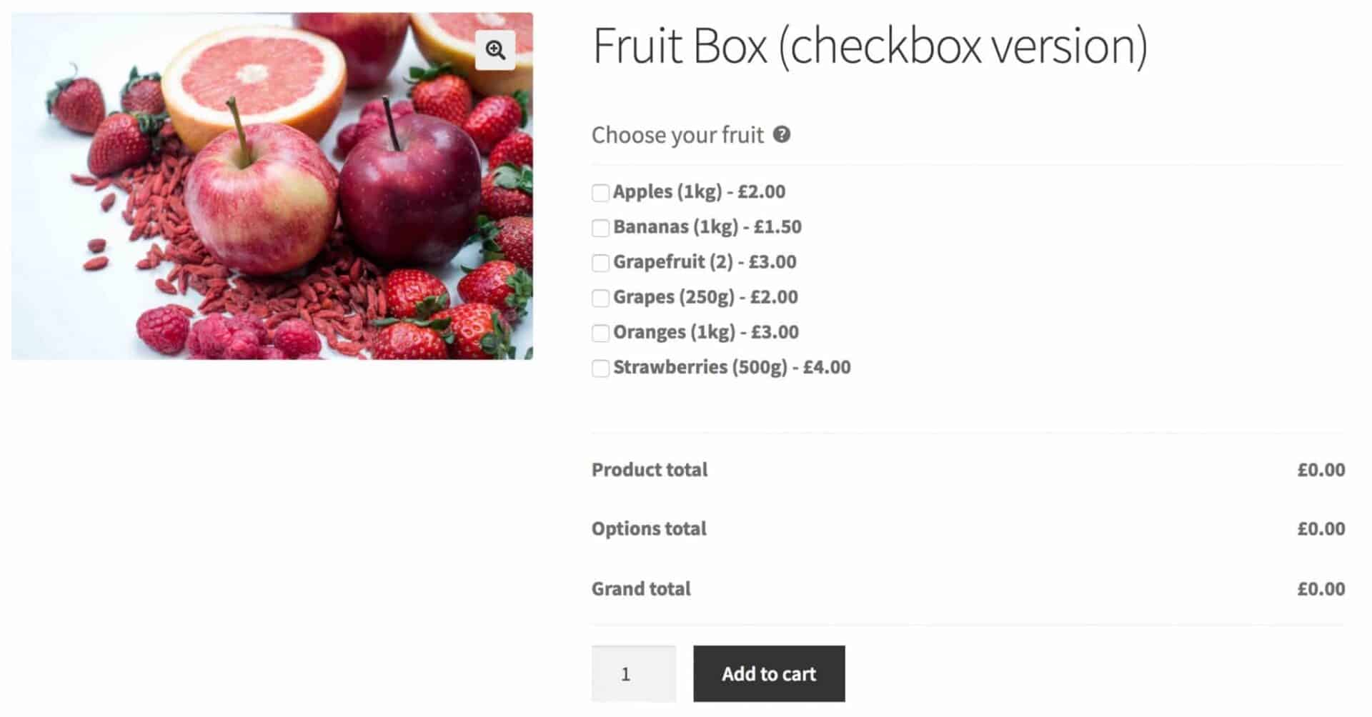 WooCommerce fruit box product