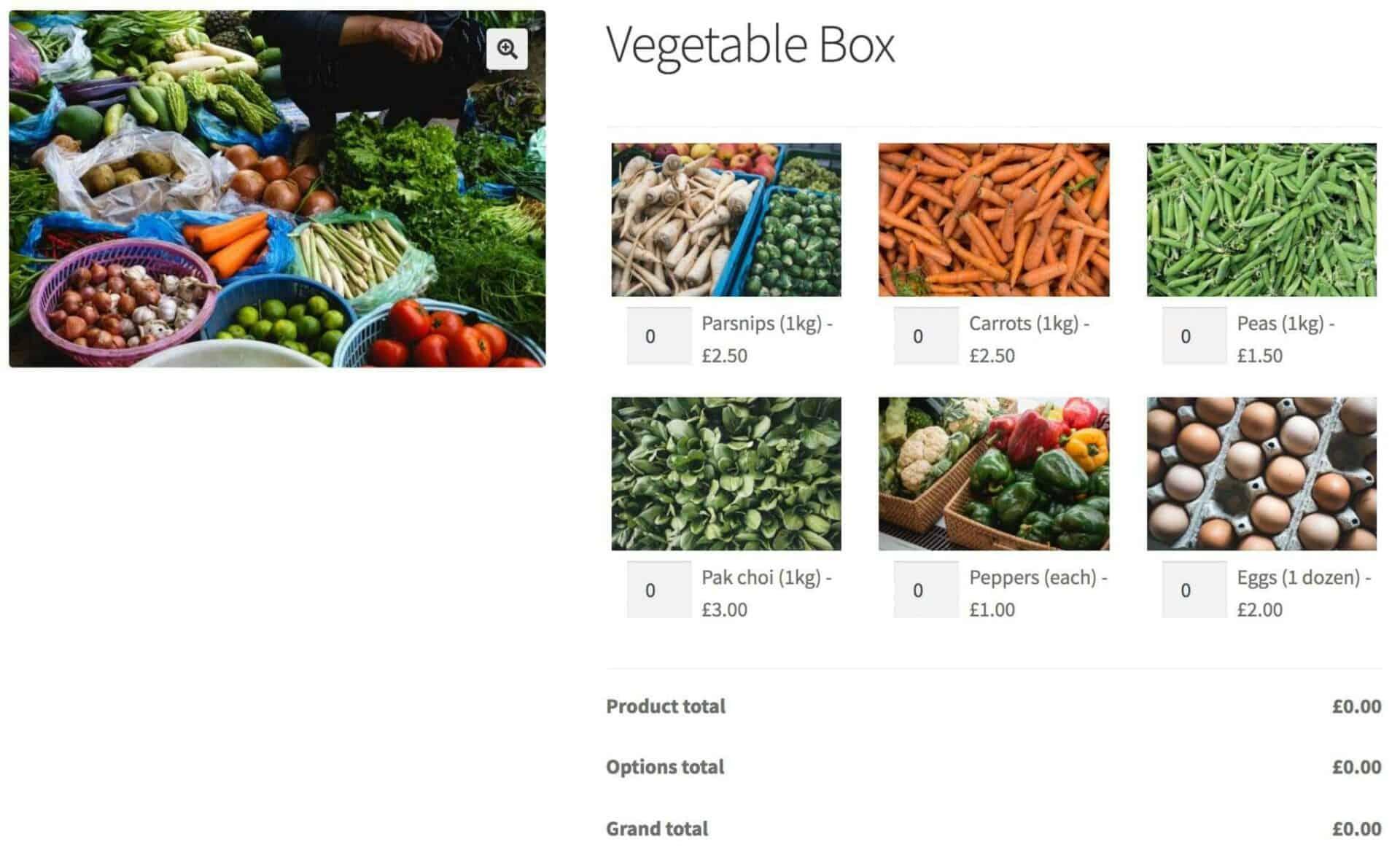 WooCommerce vegetable box