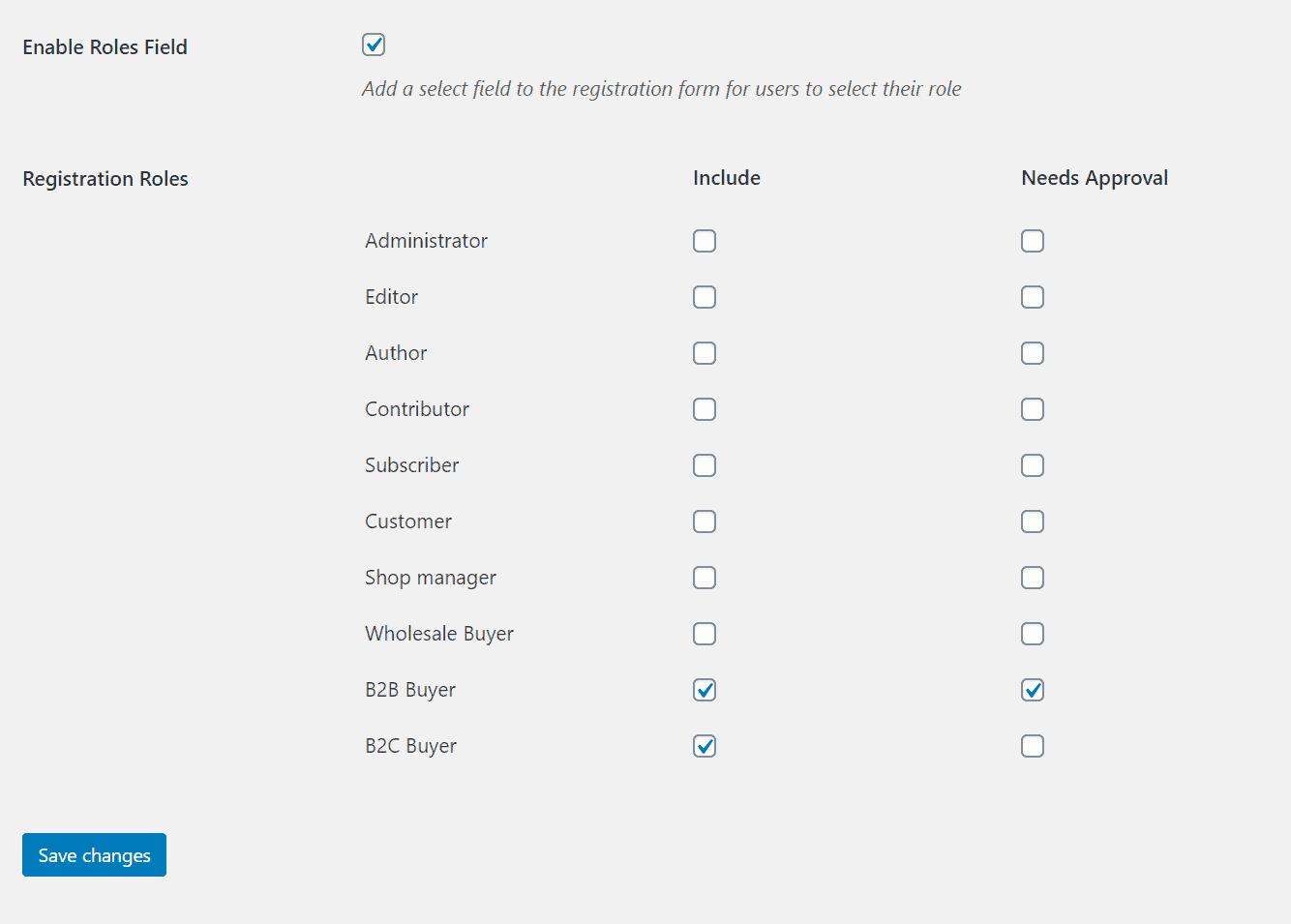 Add roles field in WooCommerce registration form
