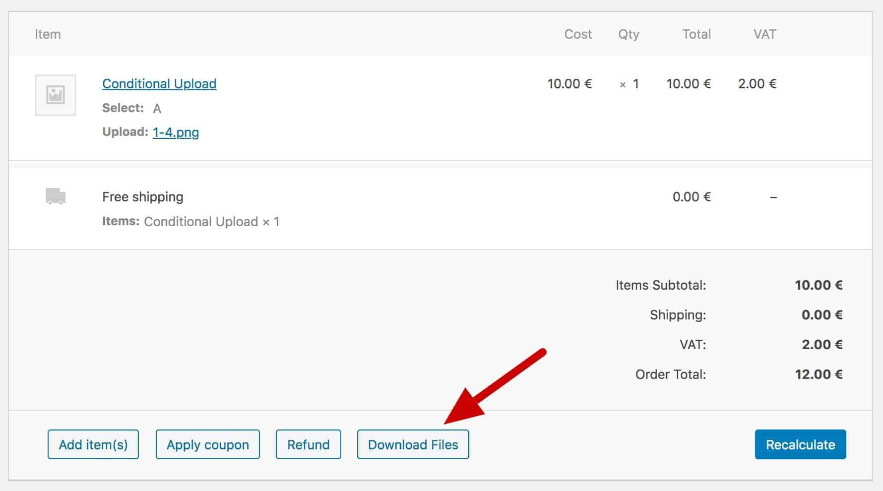 WooCommerce download files by order