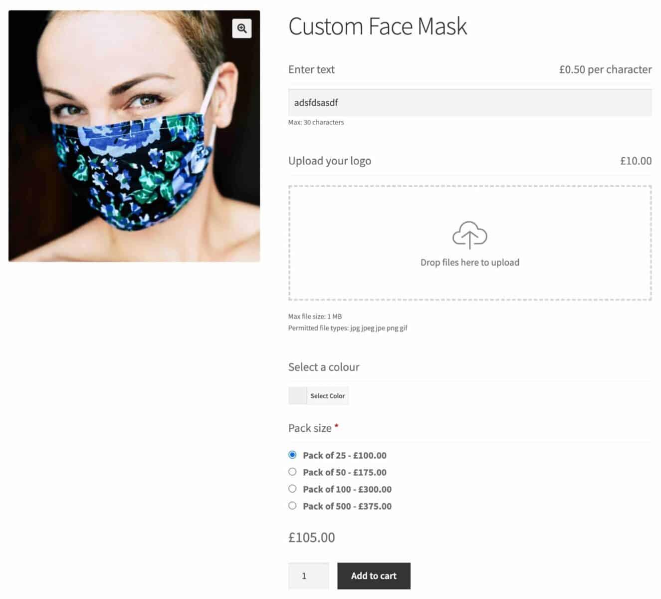 WooCommerce custom face mask