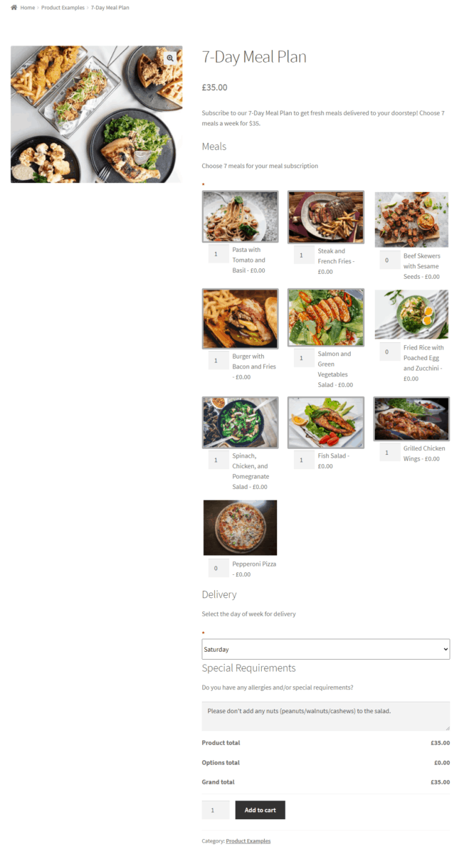 Preview of the WooCommerce meal subscription service