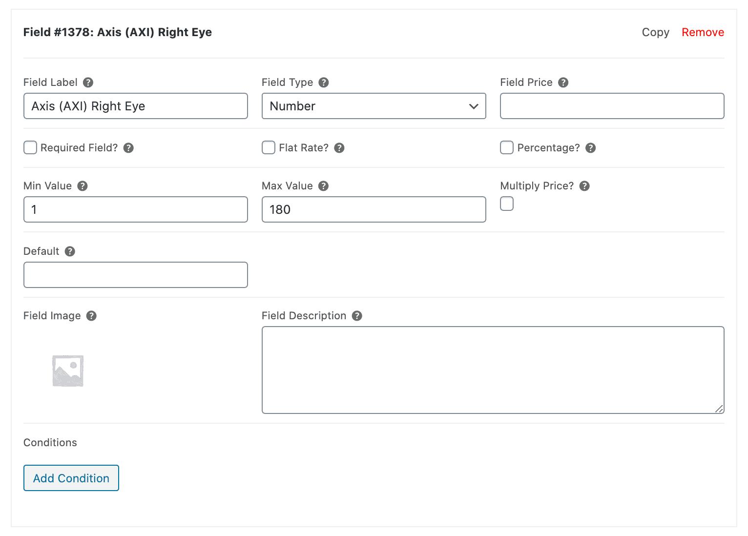 Fields for prescription details