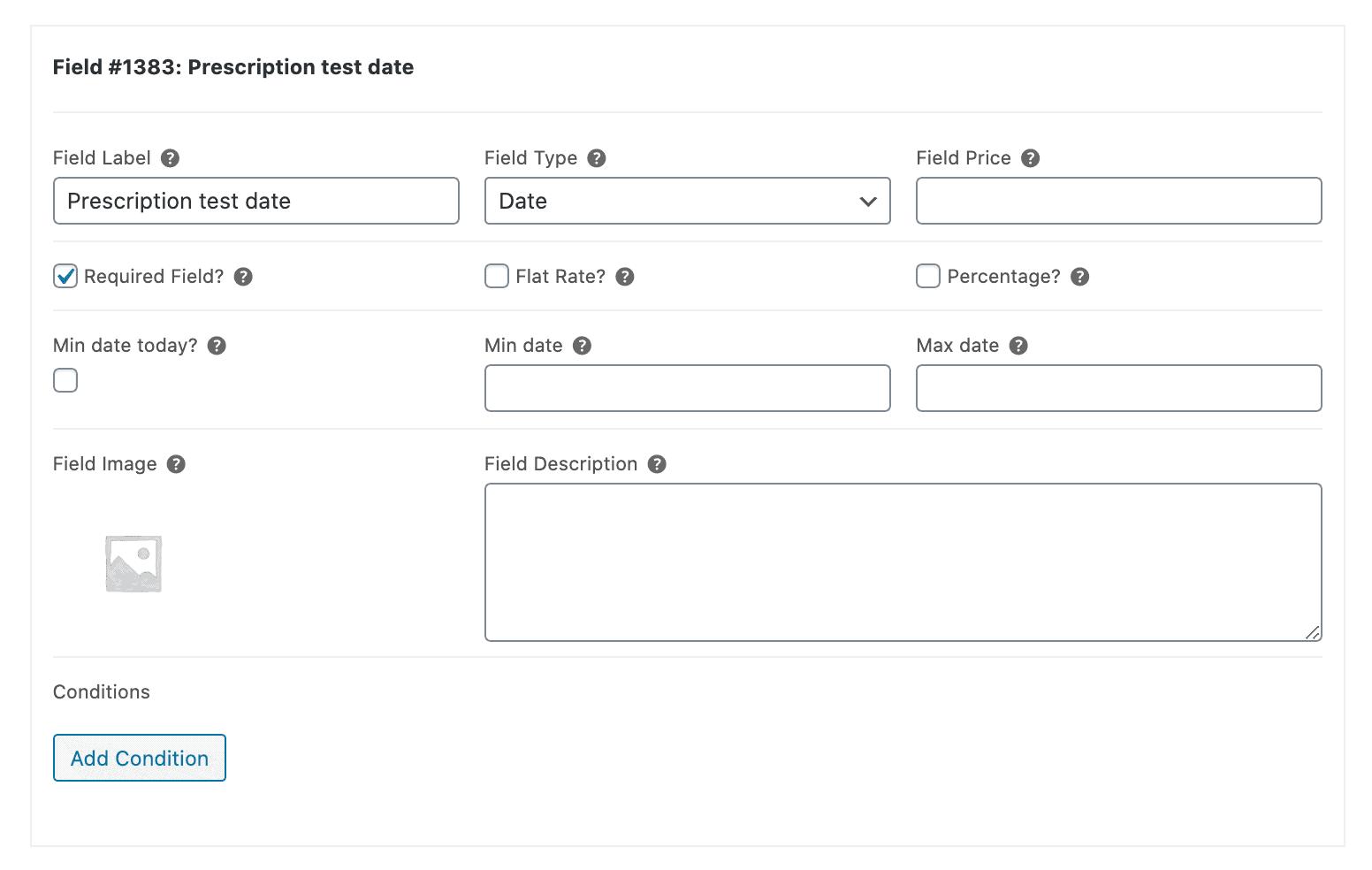 WooCommerce online optician store test date field