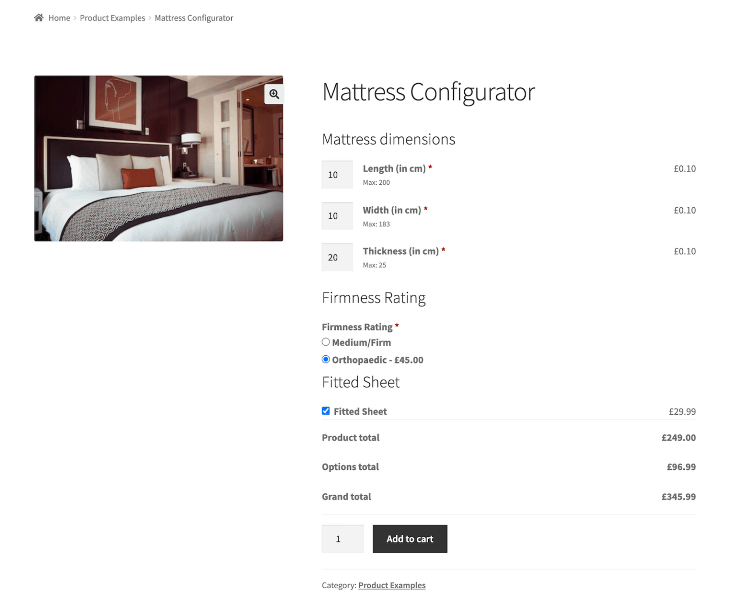 WooCommerce mattress configurator product preview