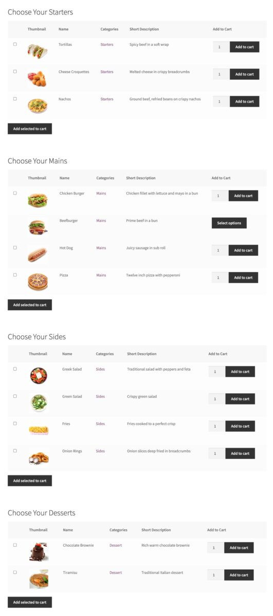 WooCommerce restaurant ordering - all sections