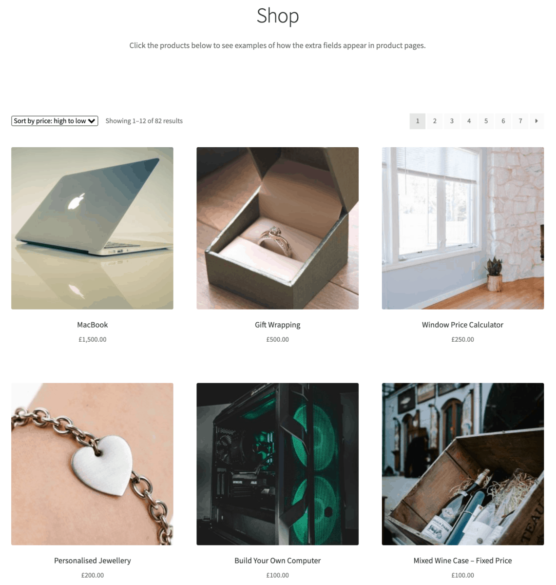 WooCommerce default layout