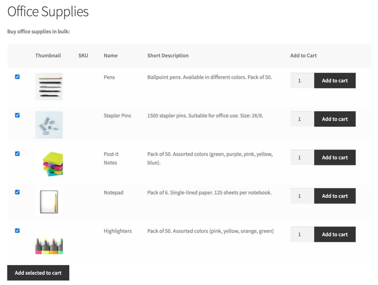 WooCommerce bulk order form