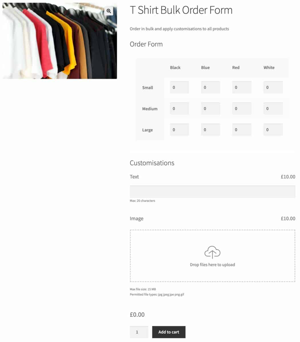 WooCommerce bulk variations form with add-ons