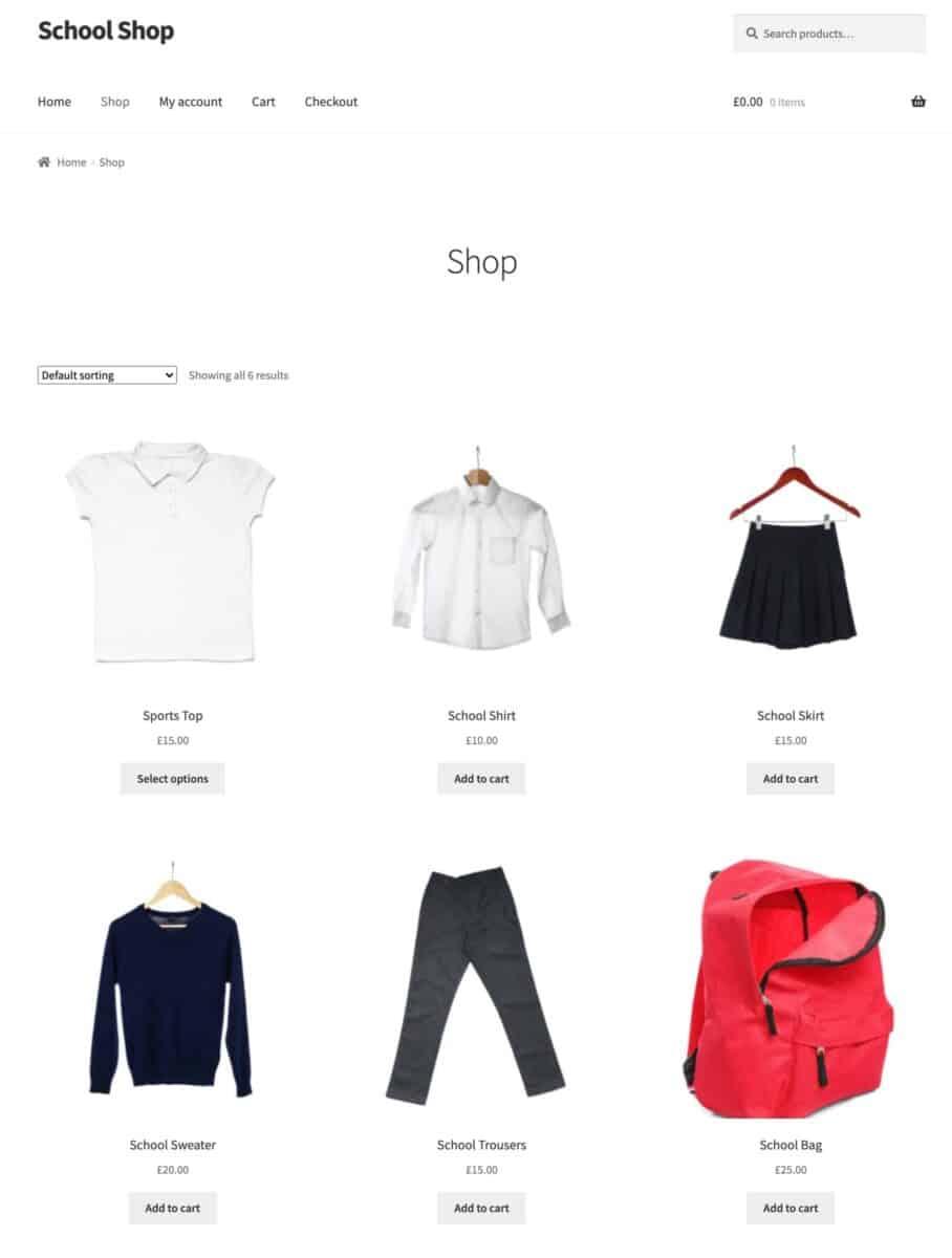 WooCommerce school shop homepage