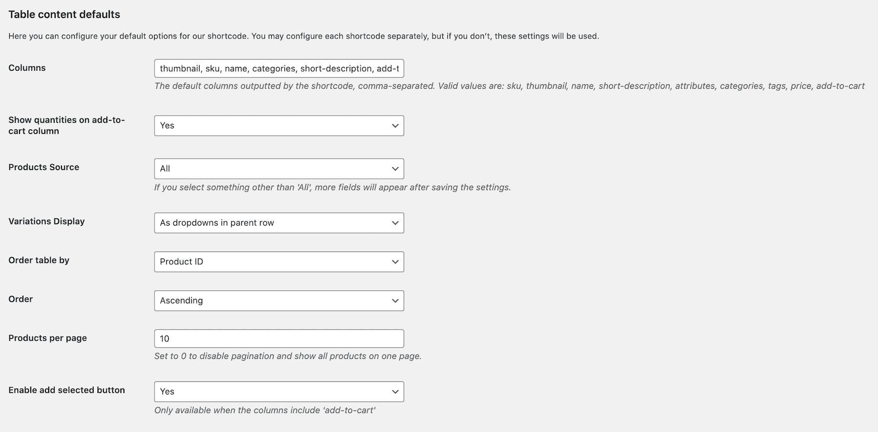 Bulk order form settings
