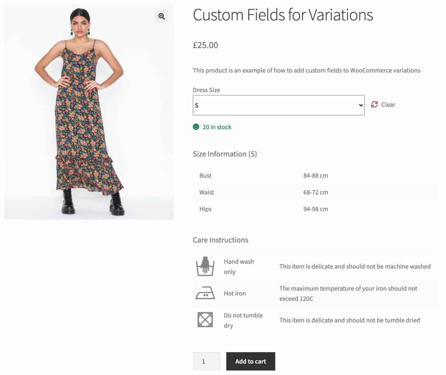 Display variation specific custom fields in a WooCommerce product