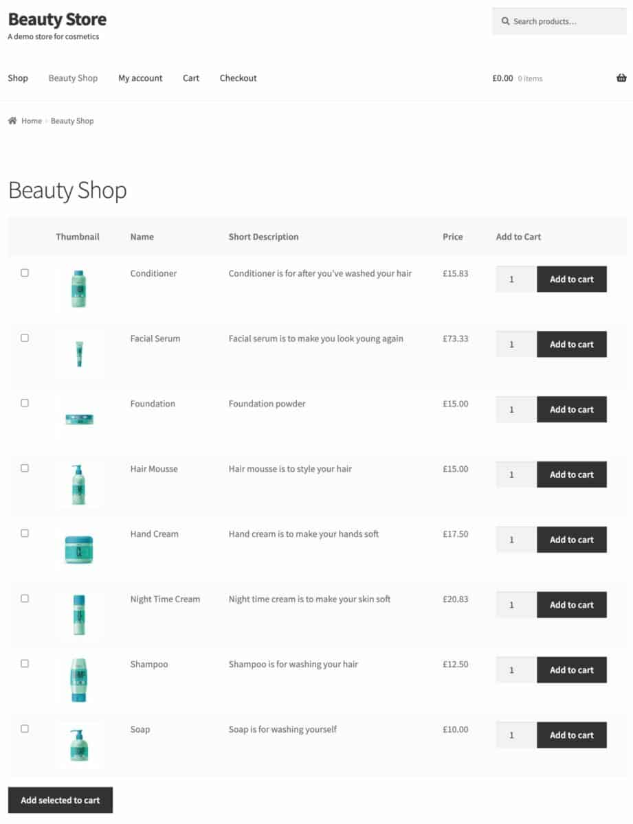 Selling beauty products online demo site