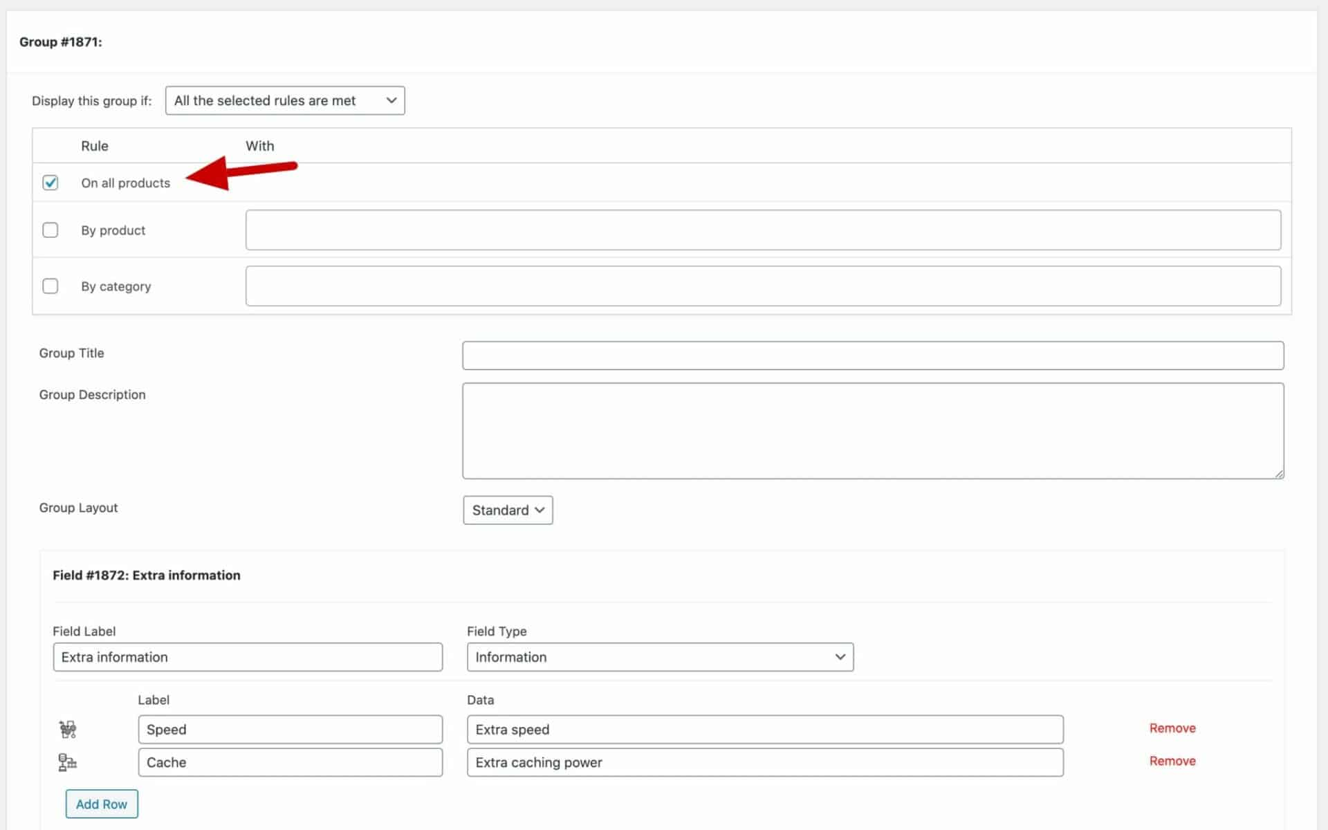 WooCommerce global information field settings