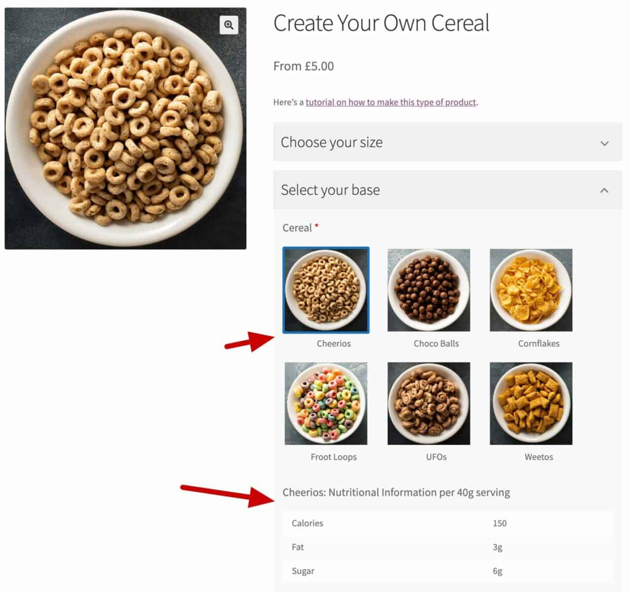WooCommerce nutritional information