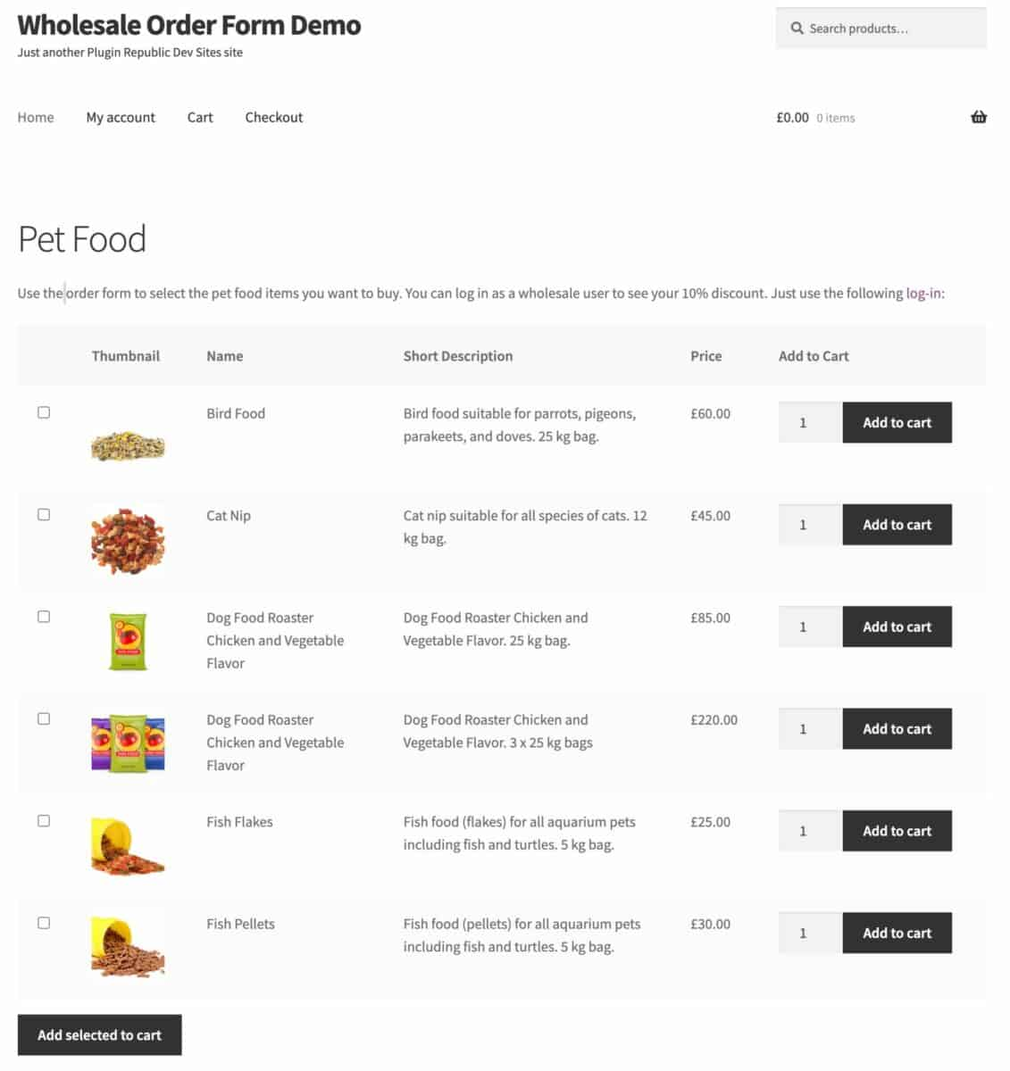WooCommerce wholesale order form demo site