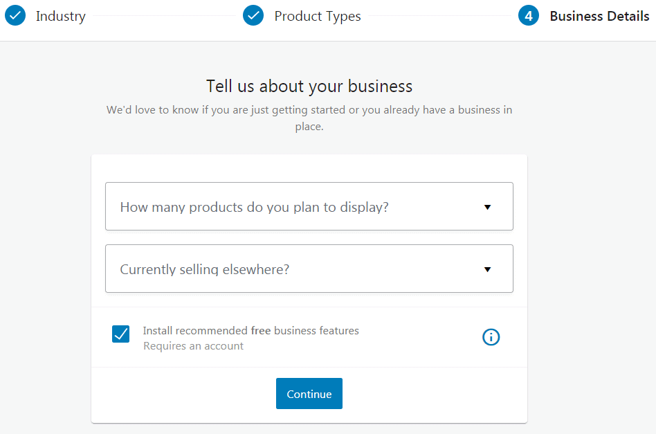 The WooCommerce wizard business details screen.