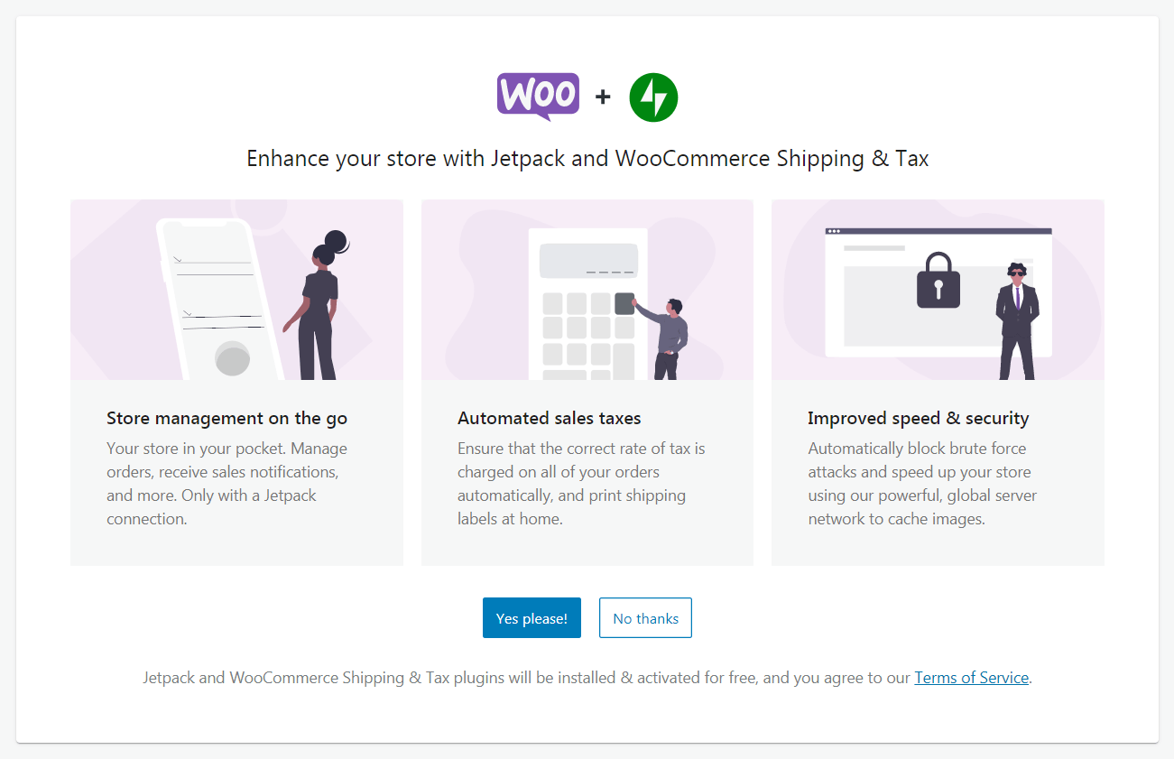 The WooCommerce wizard Jetpack offer.