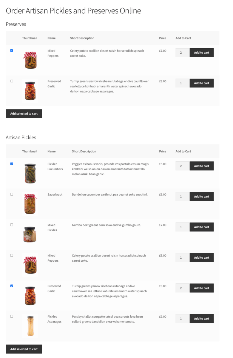Sell food online multiple tables