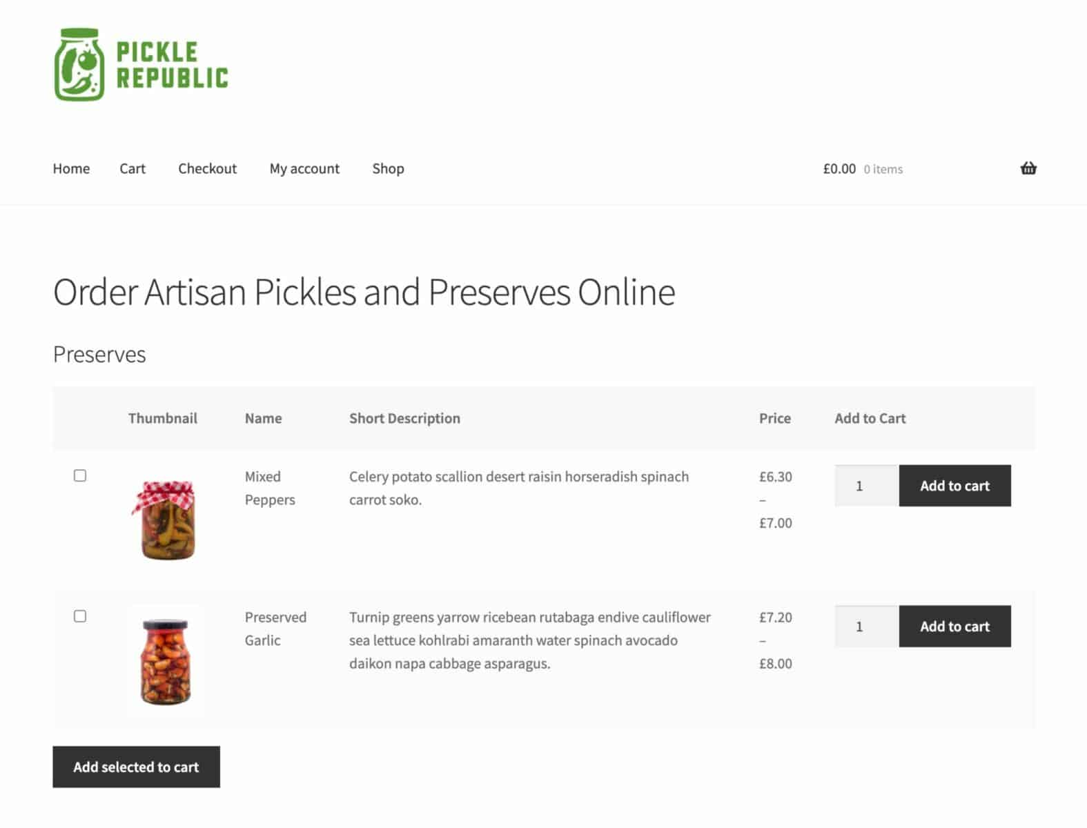 WooCommerce table layout for food products