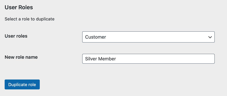 Create new member user role