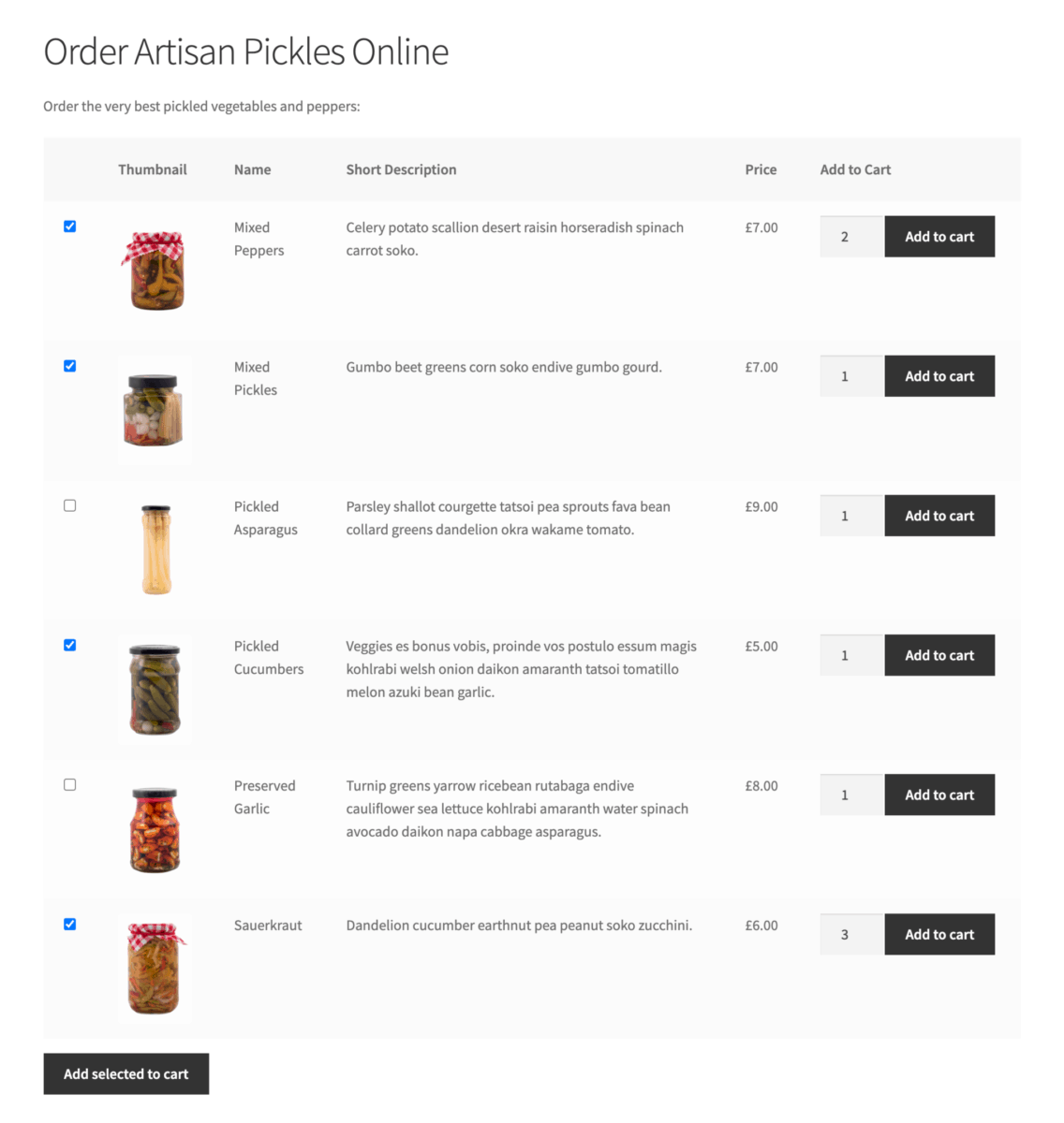 Sell food online pickles