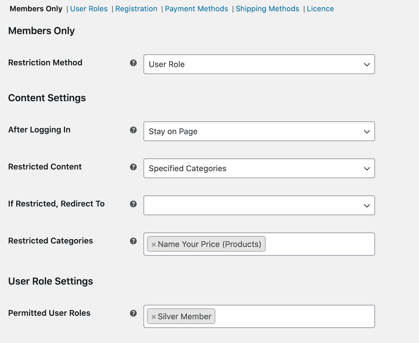 Hide WooCommerce category user role