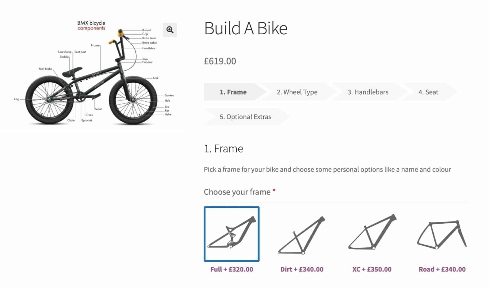 WooCommerce build a bike product