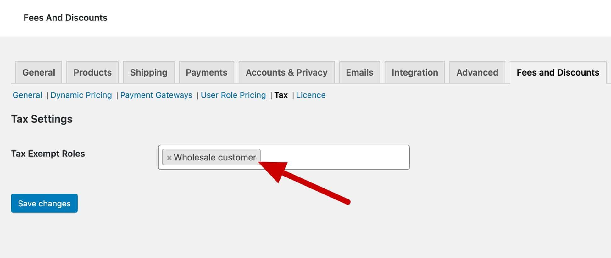 WooCommerce tax exempt roles setting