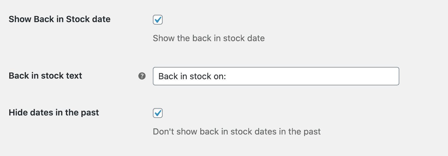 Back in stock settings