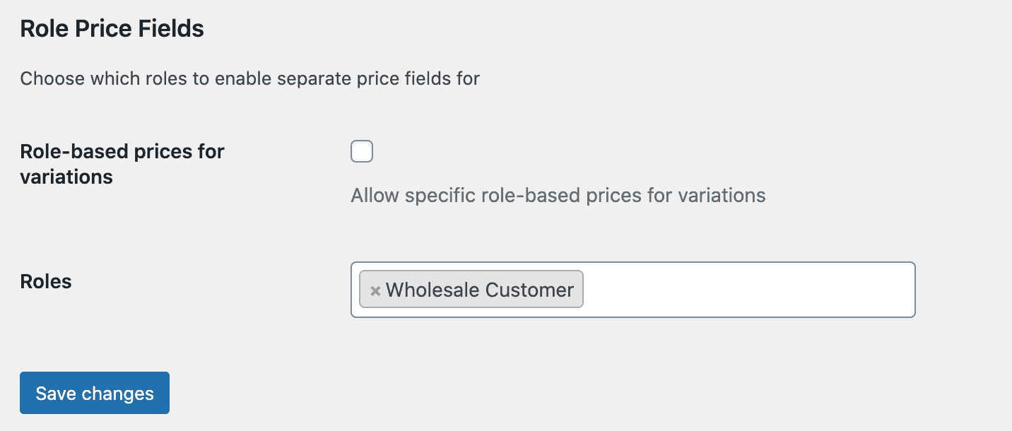 Role price field