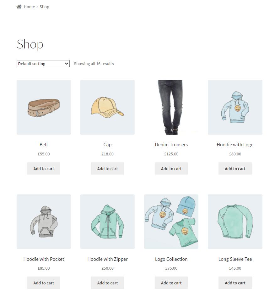 Default WooCommerce shop page