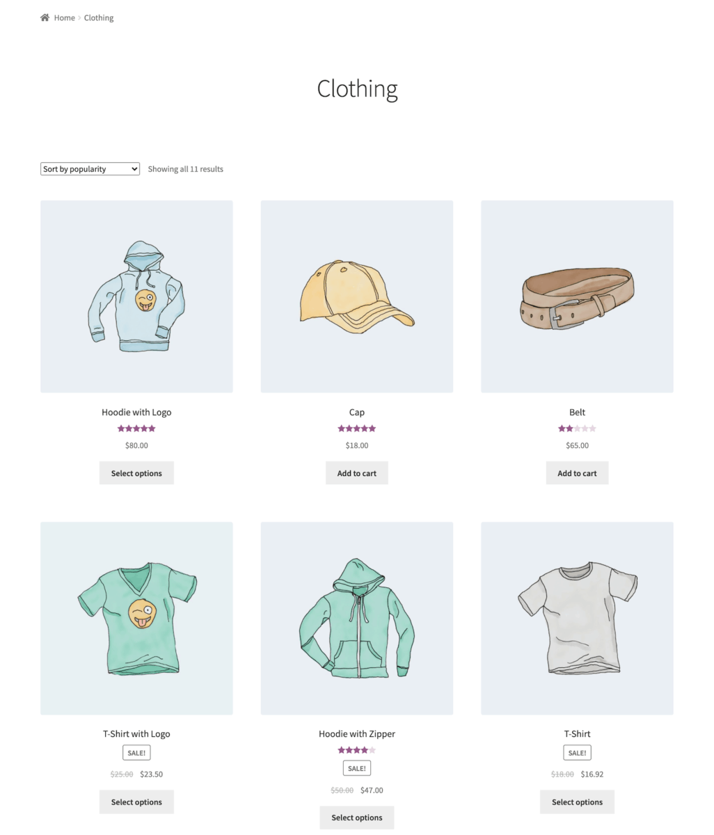 WooCommerce default category page