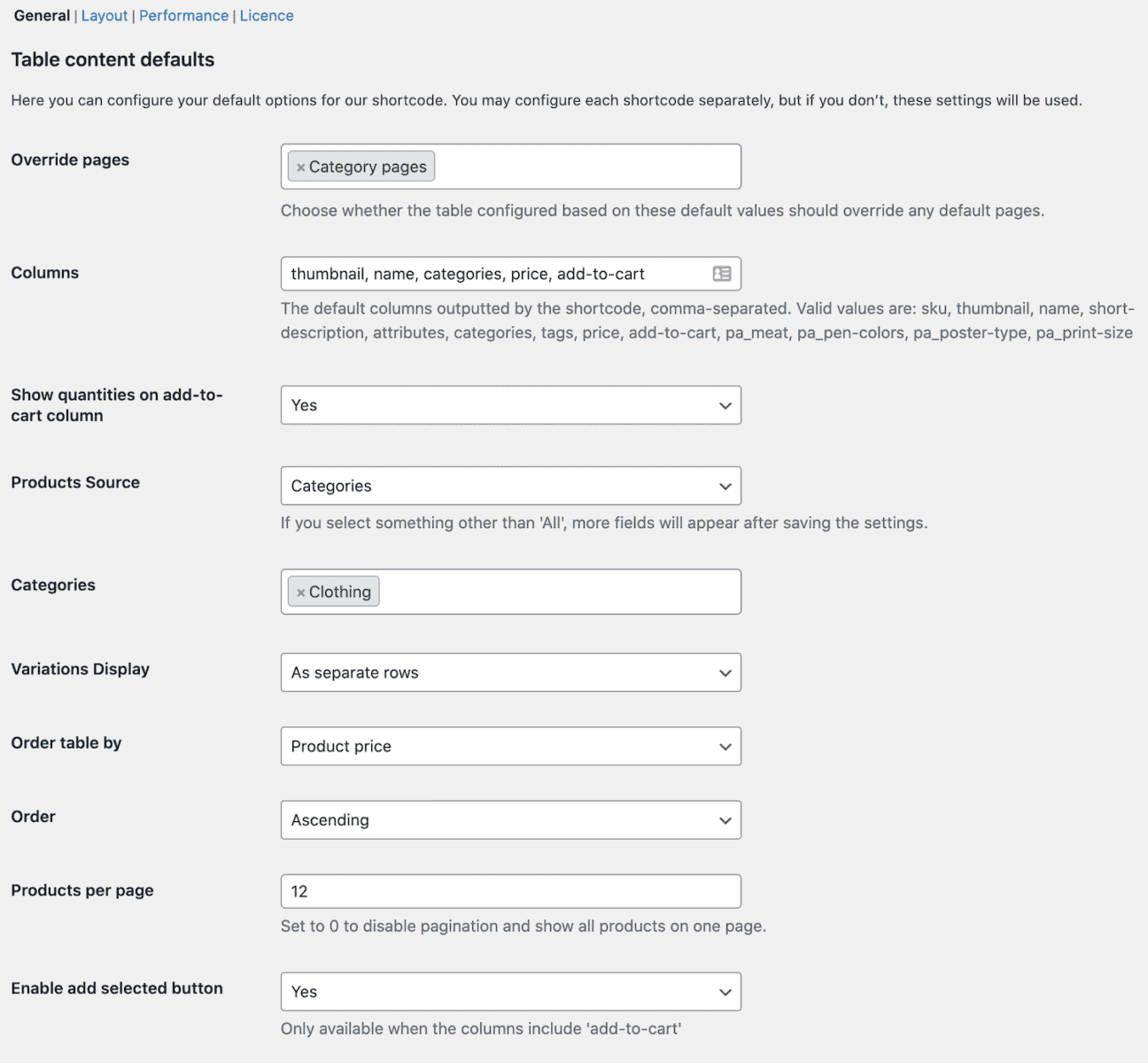 WooCommerce Product Table Ultimate settings