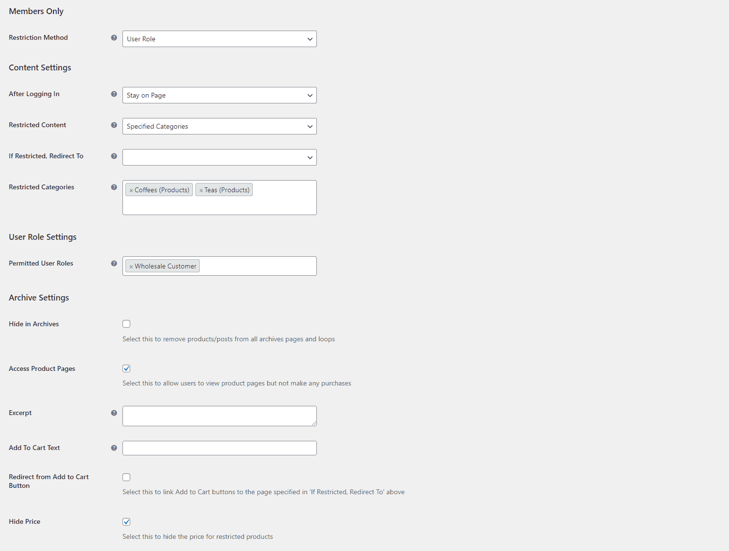 Hide price for specific user roles