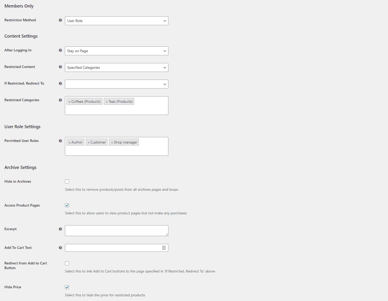 Member's Only plugin settings